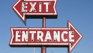 Exit and entrance signs